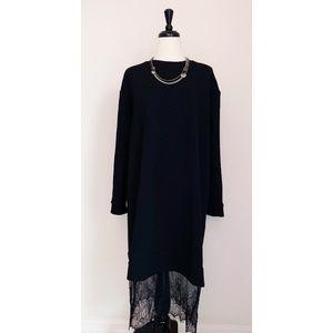 ASOS Midi Dress with Black Lace Hem